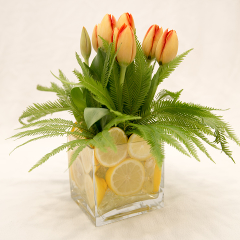 Tulips with lemons in vase