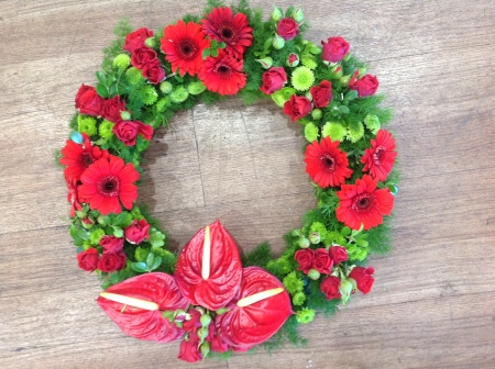 Funeral Flowers Red Wreath