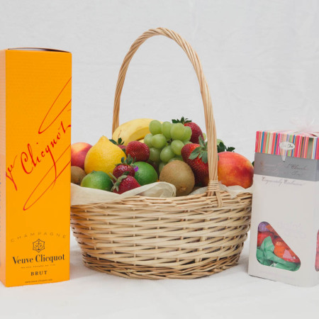 Fruit Basket With add on`s  chocolates and champagne