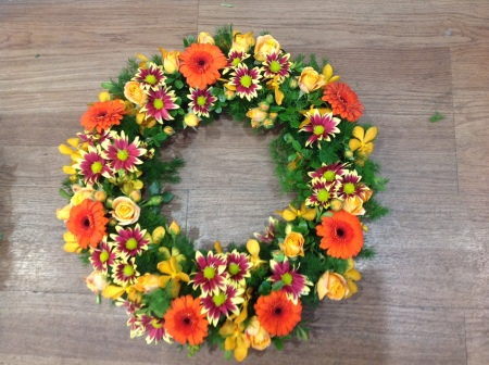 Funeral Flowers Yellow/Orange Wreath
