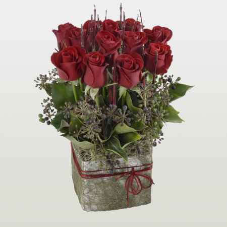 Upright Box of 12 premium red roses