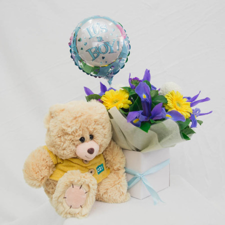 Baby Boy Box With Balloon , Teddy bear