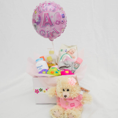 Baby Girl Product Box, Large teddy and Balloon