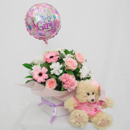 Baby Girl Box With Balloon and Teddy