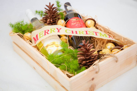 Christmas Wooden Box  Two Bottles of Wine, with Chocolates and festive decorations